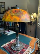 Antique Reverse Painted Lamp Shade And Lamp- Pittsburgh Lamp, Brass And Glass Co.