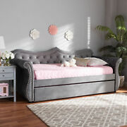Abbie Velvet Crystal Tufted Twin Size Sofa Daybed Bed Frame W/ Pull-out Trundle