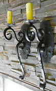 Pair Huge 1920s Style Black Wrought Iron Spanish Revival Home Wall Sconce Lamp