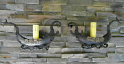 Pair 1920s Style Viking Boat Ship Wrought Iron Spanish Revival Wall Sconce Lamp