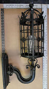 Huge 1920s Style Wrought Iron Spanish Revival Exterior Wall Sconce Lamp Lantern