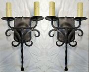 @ Pair 1920s Style Wrought Iron Spanish Revival Tuscan Wall Sconce Lamp Light @