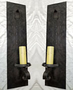 @ Pair 1920s Style Hammered Wrought Iron Spanish Revival Wall Sconce Lamp Light