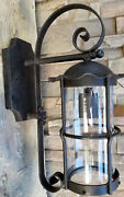 Custom 1920s Style Wrought Iron Spanish Revival Mission Outdoor Wall Sconce Lamp
