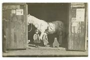 Rppc Cute Children In A Stable Barn Farm Large Horse Real Photo Postcard