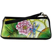 Swank Bags Leather Hand Painted Woman's Purse/wallet, Dragonfly Ab-hp-2000