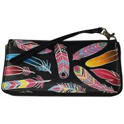 Swank Bags Leather Hand Painted Woman's Purse/wallet, Feathers Ab-hp-1000