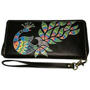 Swank Bags Leather Hand Painted Woman's Purse/wallet, Peacock Ab-hp-3000