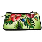 Swank Bags Leather Hand Painted Woman's Purse/wallet, Flowers, Leaves Ab-hp-499