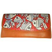 Swank Bags Leather Hand Painted Woman's Purse/wallet, Fish, Ab-hp-500