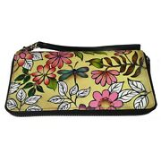 Swank Bags Leather Hand Painted Woman's Purse/wallet, Flowers, Ab-hp-888