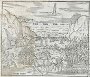 1560 Geneva Bible Leaf - 1st Edition - Ex.133b-1427a - Crossing The Red Sea