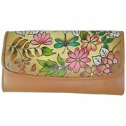 Swank Bags Leather Hand Painted Woman's Purse/wallet, Flowers, Ab-hp-650