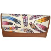 Swank Bags Leather Hand Painted Woman's Purse/wallet, Feathers, Ab-hp-550