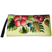 Swank Bags Leather Hand Painted Woman's Purse/wallet, Flowers/leaves, Ab-hp-800