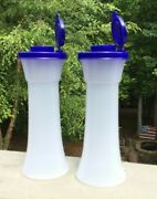 2021 Tupperware Large Hourglass Salt And Pepper Shakers Set Blue Tops - New 2021