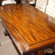 7and039 Traditional French Country Farm Rustic Mahogany Dining Trestle Table