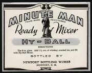 Vintage Soda Pop Bottle Label Minute Man Hy Ball Soldier Pictured Newport Nh