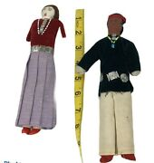 Vintage Navajo Native American Indian Hand Made Dolls Blue Red Clothing