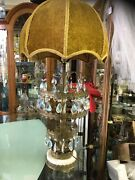Vtg Lamps Prisms Gold Brass Tall Set Of 2 Antique Crystals Must See Cloth Shade