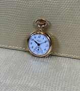 Lady Elgin Small Second Pocket Watch White Enamel Dial - 14kt Yellow Gold