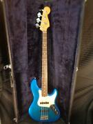 Vintage 1995-96 Fender American Deluxe Jazz Bass Guitar Rosewood Board Blue Usa