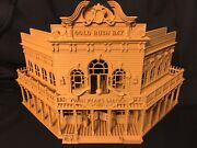 Miniature Old West 1 Saloon/hotel Built Ready Ho Scale W/ Interiors Wood Color
