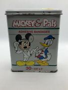 Rare Vintage Mickey Mouse And Pals Band Aid Tin Disney Collectible 28 Bandages