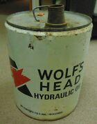 Vintage Metal 5 Gallon Wolfand039s Head Hydraulic Oil Can Auto Highway Street Empty