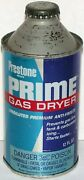 Vintage Oil Can Prestone Prime Gas Dryer Eveready 12oz Cone Top All Metal Full