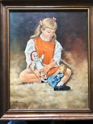 Oil Painting Young Girl With Raggedy Ann And Doll On Shag Rug