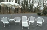 Vintage White Russell Woodard Sculptura Ivy Leaf Hoop Wrought Iron Patio 4 Pc St
