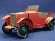 Vintage Pre War Tin Mg M Type Boat Tail Roadster Model Car 6 1/2 Red Rare Look
