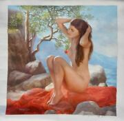 Original Pin Up Oil Painting Gorgeous Young Nude Girl Female Woman Pinup Art