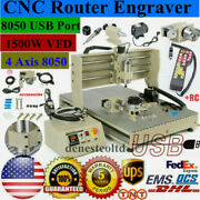 4-axis 8050 Cnc Router Engraver 1.5kw Vfd Carving Mill Drill Cutter Machine+rc