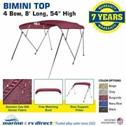Bimini Top Boat Cover 4 Bow 54 H 67 - 72 W 8and039 Long Solution Dye 600d Burgundy