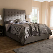 Georgette Modern Gray Button-tufted Fabric Tall Headboard Panel Bed Frame