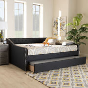 Haylie Modern Dark Gray Tufted Fabric Sofa Daybed Frame W Pull-out Guest Trundle