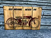 Large Size Indian Powerplus Motorcycle Wooden Picture Home Decor Wall Art