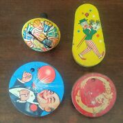 Lot Of 4 Antique Vintage Tin Litho Toy Ratchet And Bell Noise Makers Wood Handles
