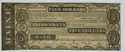 1833 Bath Maine Lincoln Bank 5 Obsolete Currency Rare