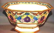 Fabulous Bernardaud And Co Limoges France Art Deco Butterfly And Flower Footed Bowl