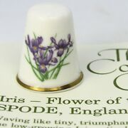 Thimble Collectors Club, Iris, Flower Of The Year 1991, Spode, England With Coa
