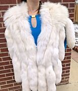 Luxury Vintage White Fox Fur Stole With Tails Winter Wedding Wrap Bridal Fling