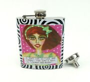 Flask 7 Oz Stainless Steel Bad Girl Couture Crash And Burn Adult Humor
