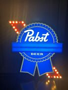 Pabst Blue Ribbon Motion Marquee Led Beer Bar Sign Man Cave Display Light Pbr
