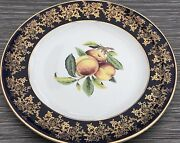 Weatherby Royal Falcon Ware Cobalt Blue Band Gilded Peach Fruit Display Plate