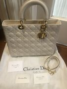 4450 Retailed Christian Dior Lg Lady Dior Bag/removable Strap Included