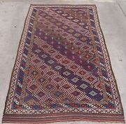 5and039x10and039 Antique Caucasian Tribal Hand Made Wool Veg. Dyes Oriental Rug Runner