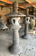 Large Pair Of Lavastone Lanterns From Indonesia Can Be Shipped Worldwide